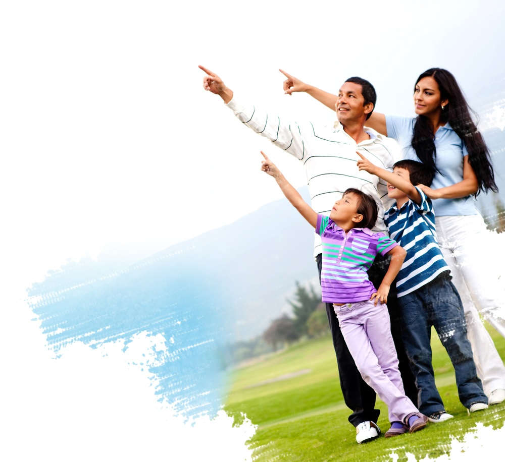 Illustration of a family outdoors in a green field pointing.jpeg